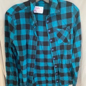 Justice buffalo plaid button up shirt size 18/20
